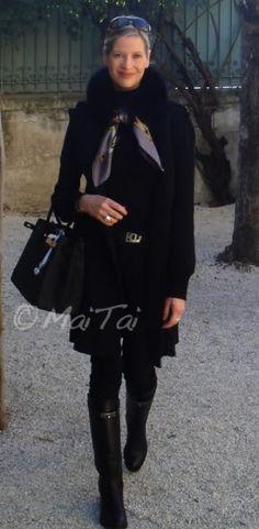 'La Presentation de Chevaux' Hermès scarf with MaiTai Collection scarf fur collar