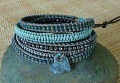 Beaded Leather & Macrame Wrap Bracelet with Heart Charm - Aqua, Gray, Taupe: 5 Wrap Bracelet, Boho Chic, Gift for Her, Casual Bracelet, OOAK