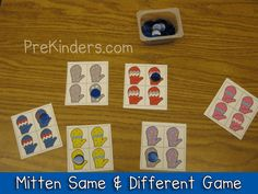 Mitten Same and Different Game for Pre-K