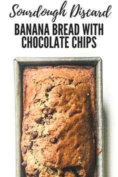 Don't discard your extra sourdough starter! It makes a great addition to easy baking recipes, including this sourdough discard banana bread recipe. Dough Starter Recipe, Sourdough Starter Discard Recipe, Banana Bread Recipes, Sourdough Recipes, Starter Recipes, Cake Recipes, Dessert Recipes, Desserts With Chocolate Chips, Kitchens