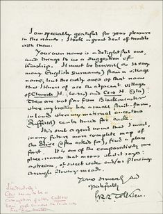 Tolkien handwritten letter with J.R.R. Tolkien signature