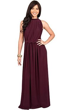 10b8b0189d16c KOH KOH Womens Long Sexy Sleeveless Bridesmaid Halter Neck Wedding Guest  Summer Flowy Casual Brides Formal Evening Gown Gowns Maxi Dress Dresses for  Women ...