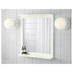 SILVERÅN Mirror with shelf, white, Can be used as a shelf for a soap dish and tumbler, thanks to the depth of the frame. A good solution where space is limited. Shelves, Ikea Mirror, Wall Mirrors Ikea, Mirror Cabinets, Ikea, Small Bathroom Decor, Mirror With Shelf, Mirror Wall Bathroom, Mirror