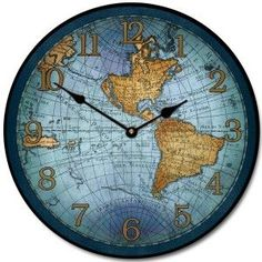 17th Century Map Clock Blue. Large wall clocks. Home Decor. Many Sizes Available. Starting at only $44.00