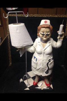 Vintage toilet paper towel holder nurse