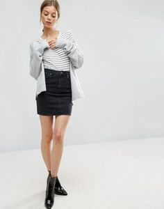ASOS – Denim Original – Jeansrock mit hoher Taille in verwaschenem Schwarz