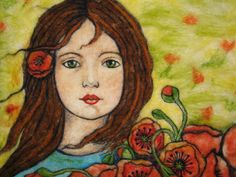Needlefelt Art Wall Hanging - Girl Gathering Poppies In The Field CUSTOM ORDER ONLY