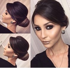 Glam updo and earrings Wedding Hair Down, Wedding Hair And Makeup, Bride Hairstyles, Pretty Hairstyles, Classy Hairstyles Medium, Bridesmaids Hairstyles, Short Hair Styles, Natural Hair Styles, Hair Upstyles