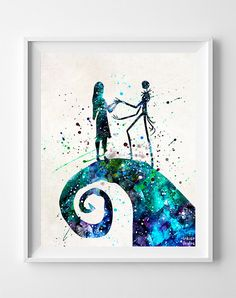 Jack Skellington and Sally Print Nightmare Before by InkistPrints