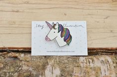 Rainbow Unicorn brooch by Stefmadendraws on Etsy