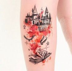 Another Fairy Tale Book with flying Colors. Another worth trying book tattoo des. - Another Fairy Tale Book with flying Colors. Another worth trying book tattoo design is the fairy ta - Hp Tattoo, Tattoo Trend, Book Tattoo, Tattoo You, Tattoo Bird, Trendy Tattoos, Small Tattoos, Tattoos For Guys, Tattoos For Women