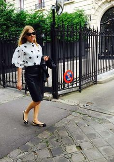 polka dots silk blouse in Paris trends made by Cabo