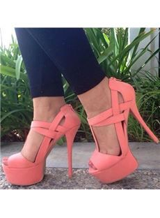 Gorgeous Coppy Leather Cut-Outs Platform Sandals