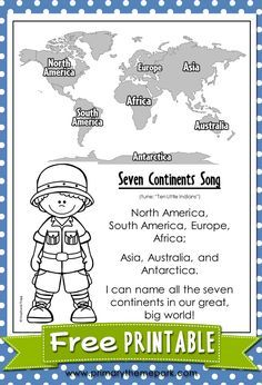 Seven Continents Song Printable Help your students learn all seven continents with this fun song! A printable fact sheet about the continents is included. 3rd Grade Social Studies, Kindergarten Social Studies, Social Studies Worksheets, Social Studies Activities, Kindergarten Science, Teaching Social Studies, Preschool Activities, Kindergarten Worksheets, Student Learning
