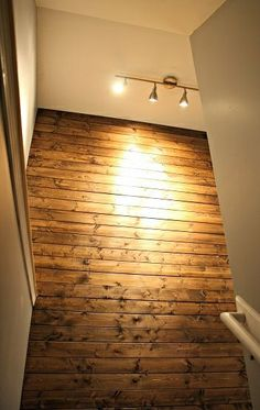 Planked wall. Amazing! Could use this for the ceiling in my sunroom and paint them white!!!