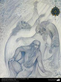 Arte islámico-Miniatura persa Estrofa (Guía espiritual rodeado por sus discípulos)