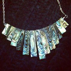 paua abalone shell fan bib necklace bohemian jewelry celebrity