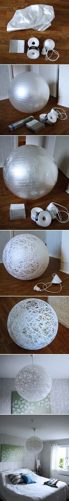 Pilates ball Wallpaper glue Paper cords (approx. 200 meters) Lamp cable Plastic sheets Wrap ball in plain plastic sheets Dip the paper cord in the glue and wrap around the ball until you are satisfied with the result. Remember to leave a hole to be able to easily replace the lamp bulb. Let dry for at least 12 hours