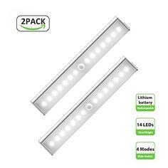 Derlson Wireless LED Motion Sensor Under Cabinet lights, Rechargeable Motion Sensor Light, LED Night light for Wardrobe,Closet ,Drawer,Hallway,Attics(2 Pack, white light) - http://bestmetaldetector.co/derlson-wireless-led-motion-sensor-under-cabinet-lights-rechargeable-motion-sensor-light-led-night-light-for-wardrobecloset-drawerhallwayattics2-pack-white-light/