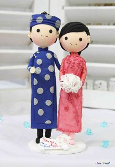 etsy - Vietnam Traditional beautiful Ao Dai Wedding cake topper clay doll, Engagement party decoration clay figurine, Bridal shower clay miniature