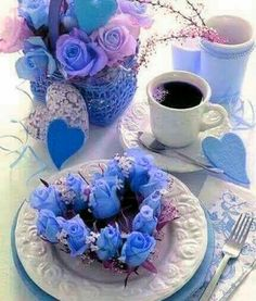 Good Morning Coffee, Good Afternoon, Coffee Candle, Coffee Drinks, Keep Calm And Drink, Krishna Art, Bunch Of Flowers, Blue Roses, Coffee Love