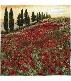 Westminster - Maia Counted Cross Stitch: Fantasy. Beautiful and artistic needle art kits to inspire you down to the very last stitch. Maia kits contain quality 16 count Aida fabric; carefully sorted Anchor thread; easy-to-follow charts and instructions. Finished size: 10x10in (25x25cm). Design: Poppy Field. Imported.