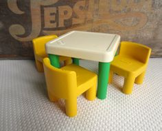 Vintage Little Tikes Table and Chairs Green and Yellow Dollhouse Furniture