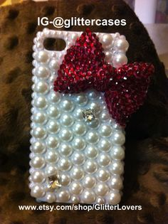 Pearl covered with large blinged out dark pink iphone 4/4s case by GlitterLovers, $25.00