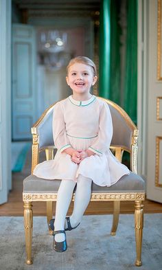 The second-in-line to the Swedish throne looked adorable in a sweet pink dress and patent leather Mary Jane shoes as she posed for a portrait marking her fourth birthday.  Photo: Kungahuset