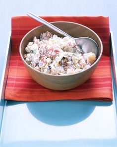 Dill Potato Salad - This salad makes use of leftover grilled potatoes and garlic cloves, so plan ahead or boil 1 3/4 pounds red potatoes until tender. The easy sour cream-dill dressing gives this potato salad a bright flavor.