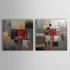 Hand-painted Abstract Oil Painting with Stretched Frame - Set of 2 – EUR € 49.08