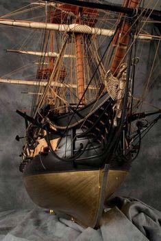Model Sailing Ships, Old Sailing Ships, Model Ship Building, Boat Building, Bateau Pirate, Scale Model Ships, Man Of War, Wooden Ship, Nautical Art