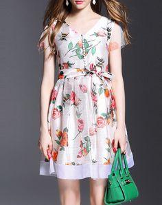 #AdoreWe QinPei.er Cosy White Vintage Paneled Polyester Mini Dress - AdoreWe.com