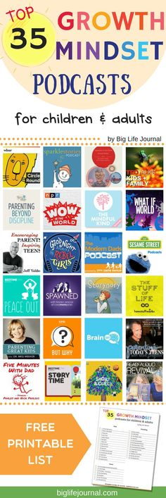 A list of 35 top growth mindset podcasts for children and adults to help build resilience, confidence, grit, positive thinking, learning from mistakes, and more.
