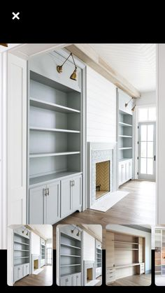 Love these built-ins! The paint colors, brass lighting, shiplap and tile are all… Love these built-ins! The paint colors, brass lighting, shiplap and tile are all beautiful! Built In Around Fireplace, Fireplace Built Ins, Home Fireplace, Fireplace Design, Basement Built Ins, Fireplace Bookshelves, Basement Bars, Basement Ideas, Fireplaces