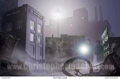 """$30 """"Totter's Lane"""" This print depicts an iconic scene from Doctor Who's first episode, """"An Unearthly Child"""". Schoolteachers Ian and Barbara first encounter the TARDIS in the junkyard at 76 Totter's Lane. #DoctorWho #1stDoctor #TARDIS"""