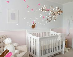 Nursery room wall decal with cute rabbit, Wall stickers, Branch with birds - 055