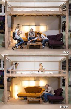 Adjustable loft for Riah's room Tiny House Loft, Tiny House Living, Tiny House Design, Small Living, Small Room Bedroom, Bedroom Loft, Small Rooms, Bedroom Decor, Tiny Spaces