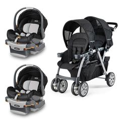 Using a travel system makes it easy for you to transition baby from car to stroller! This product set includes the Cortina Together Double Stroller and 2 KeyFit 30 Infant Car Seats.