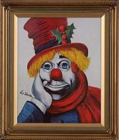 Holly Clown, The Fine Art of Red Skelton Clown Faces, Creepy Clown, Circus Clown, Circus Theme, Red Skelton Paintings, Clown Paintings, Pierrot, Send In The Clowns, Clowning Around