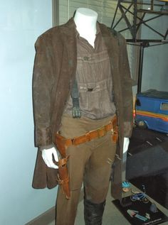 Nathan Fillion Mal Reynolds Serenity movie costume on display at Universal Studios Hollywood on January 23, 2014.   The look of Firefly's Captain was a collaboration between series Costume Designer Shawna Trpcic and leather artist, Jonathan A. Logan.