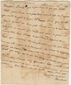 Letter from Hannah, a slave at Poplar Forest, to Thomas Jefferson 15 November 1818. Original manuscript from the Coolidge Collection of Thomas Jefferson Manuscripts.  Massachusetts Historical Society.