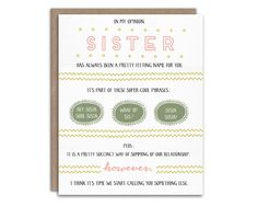 Pregnancy Reveal card for sister! Let your sister know she's going to be an aunt.   By WrittenInDetail on Etsy