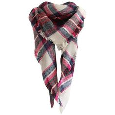 Rose Madder Vintage Checked Pattern Faux Wool Shawl Scarf ($15) ❤ liked on Polyvore featuring accessories, scarves, wool scarves, faux-fur scarves, vintage scarves, faux shawl and woolen scarves