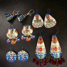 Recycled tin earrings by Emily Hickman, Tin Moon Jewelryworks.  Boho style, gypsy earrings.