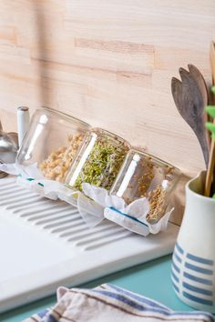 Sprossen selbst ziehen Pull the sprouts yourself in the jam jar - drain well The Laid Back Parents G Pots, Kefir Recipes, Water Kefir, Jam Jar, Window Sill, Growing Vegetables, Food Items, Smoothie Recipes, Healthy Snacks