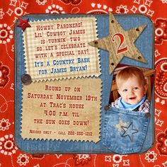 Round up your cowboy's party guests in western style with wanted outlaw birthday invitation! Personalize the wording, graphics & red & blue jean colors