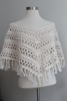 Trendy Cropped Poncho Crochet Lace Top by MySublimeStyle on Etsy, $69.00