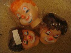 Creepy Clown doll Heads Set of 3 Vintage Darcie craft supplies  puppets