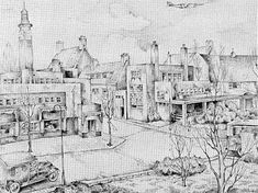"""grandparents lived in """"Betondorp"""" a nice place to grow up in Amsterdam. I love this drawing."""